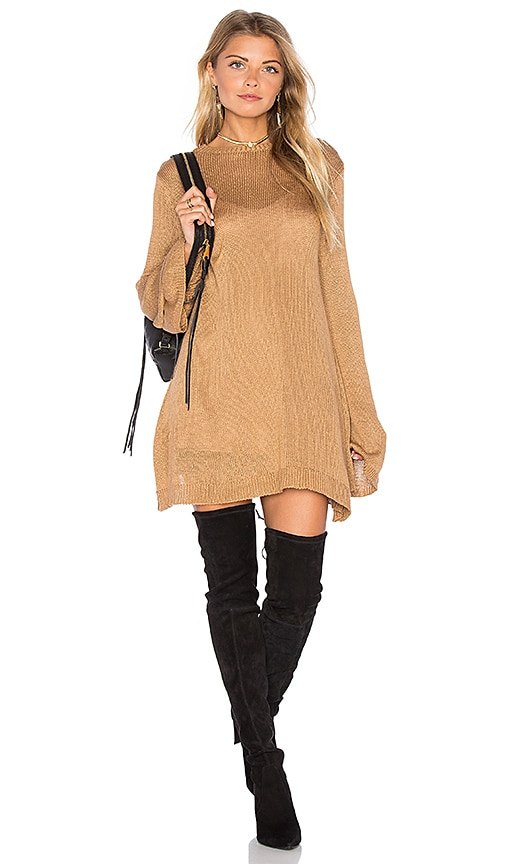Show Me Your Mumu Festibell Sweater Dress in Tan