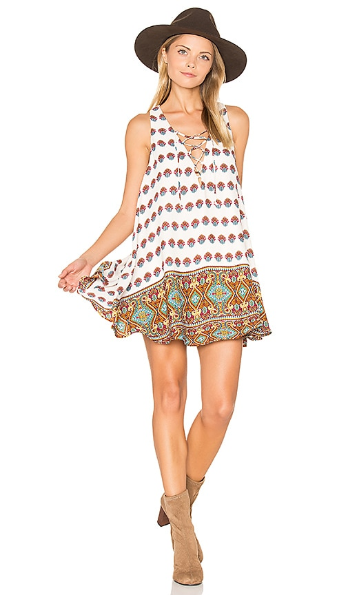 Show Me Your Mumu Rancho Mirage Lace Up Dress in Ivory