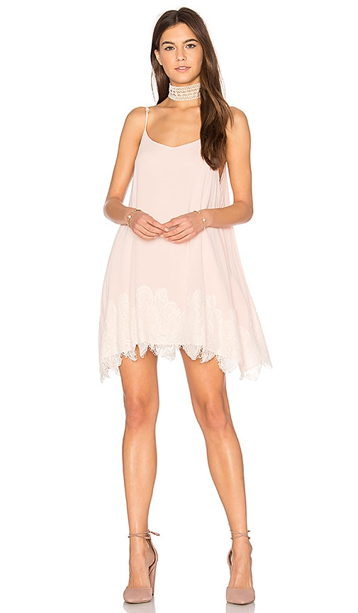 Show Me Your Mumu Lockett Lace Mini Dress in Blush