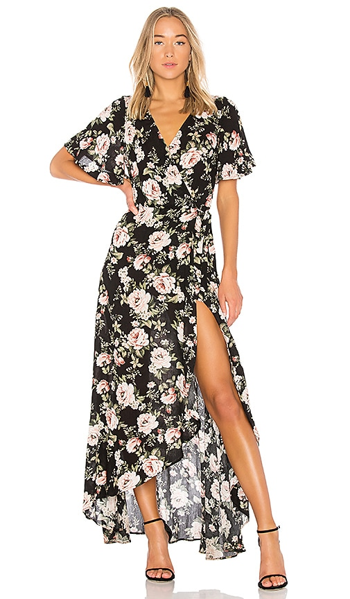 Show Me Your Mumu Marianne Wrap Dress in Black