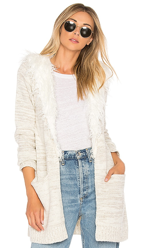 Show Me Your Mumu Roadie Sweater With Sherpa Trim in Ivory