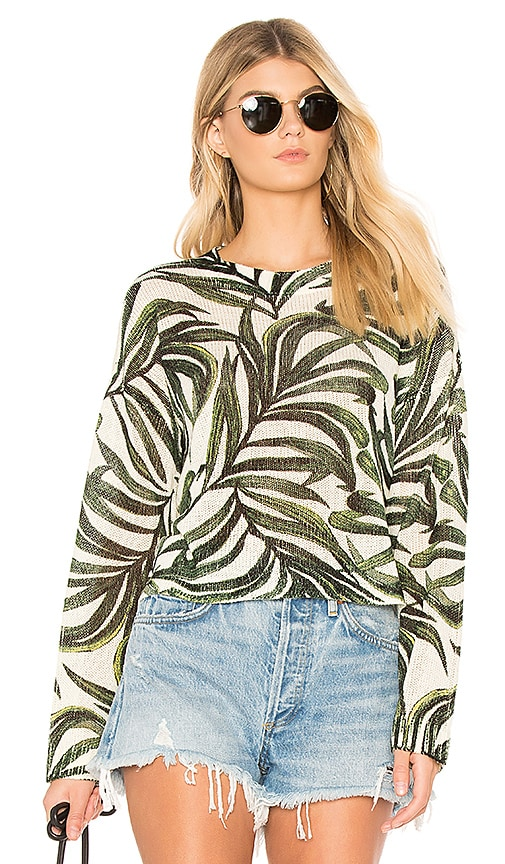 Show Me Your Mumu Cropped Varsity Sweater in Green