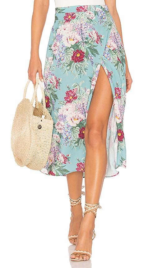 Show Me Your Mumu Flirt Midi Skirt in Blue