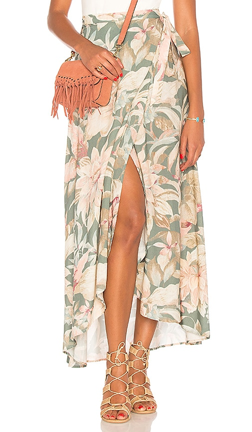 2d0e53c050 Show Me Your Mumu Siren Wrap Skirt in Petal Pines Breeze | REVOLVE
