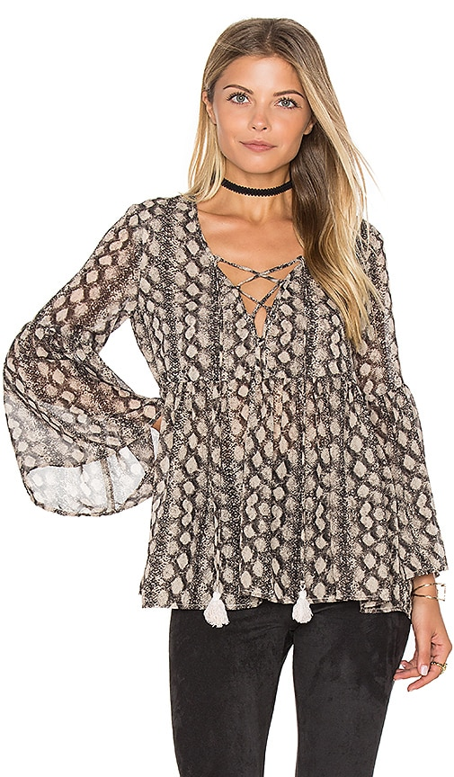 Show Me Your Mumu Poet Tie Top in Black
