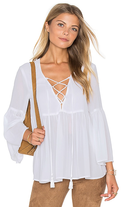Show Me Your Mumu Poet Tie Top in White