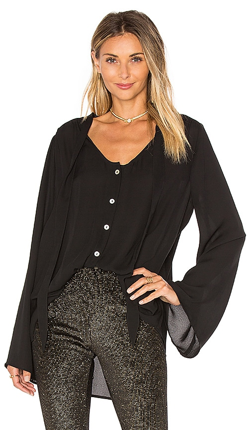 Show Me Your Mumu Taylor Tie Front Tunic in Black