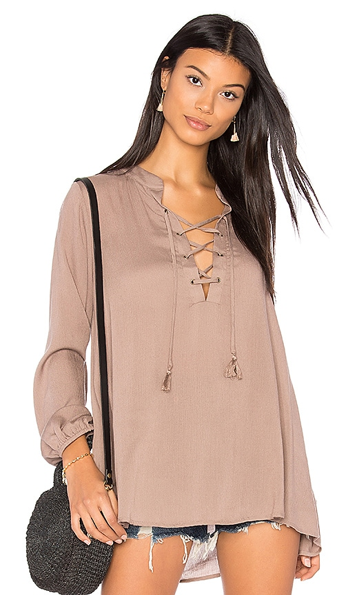 Show Me Your Mumu Thatcher Tie Top in Taupe