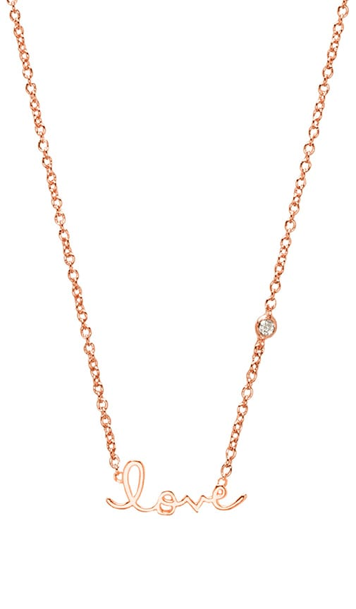 Shy by Sydney Evan Love Necklace with Diamond Bezel in Rose Gold