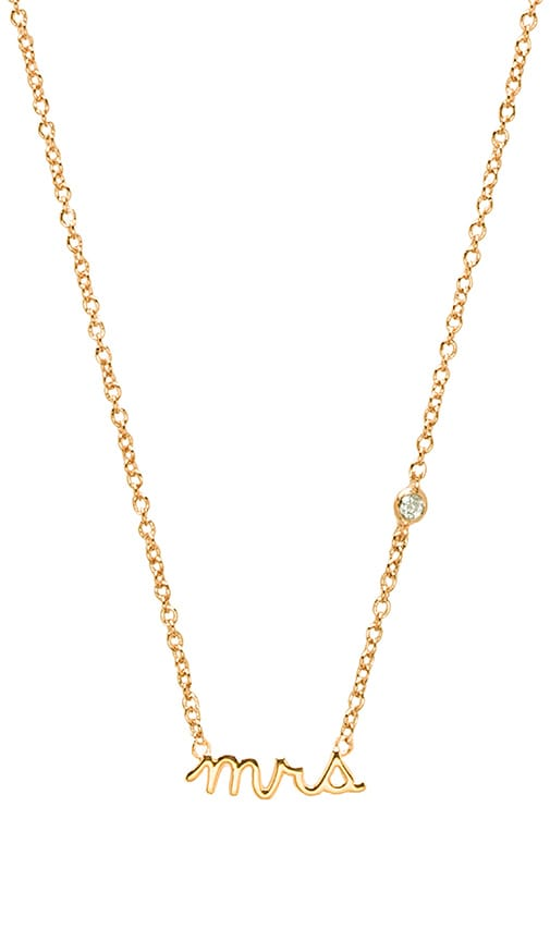 Shy by Sydney Evan Mrs Necklace with Diamond Bezel in Yellow Gold