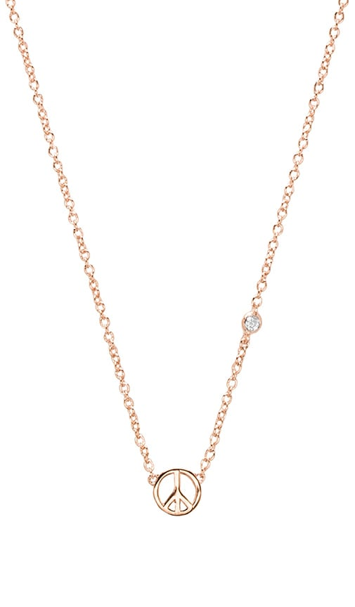Shy by Sydney Evan Peace Sign Necklace with Diamond Bezel in Rose Gold
