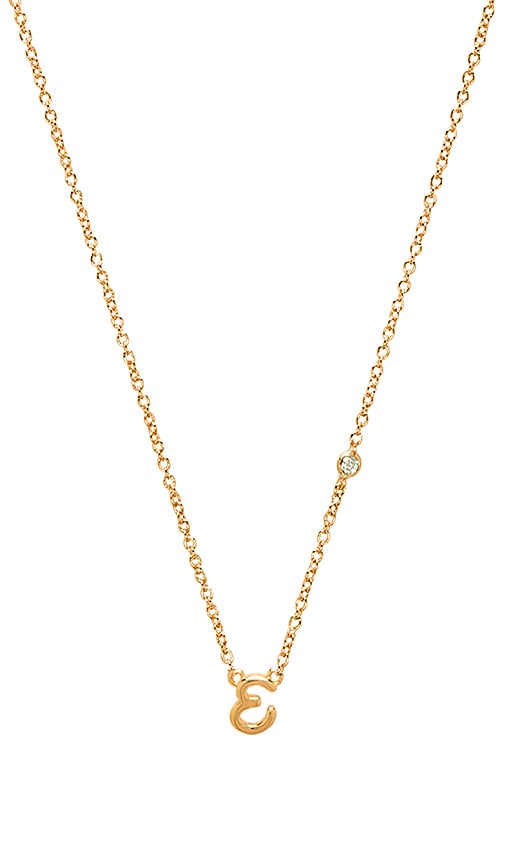 E Necklace with Diamond Bezel