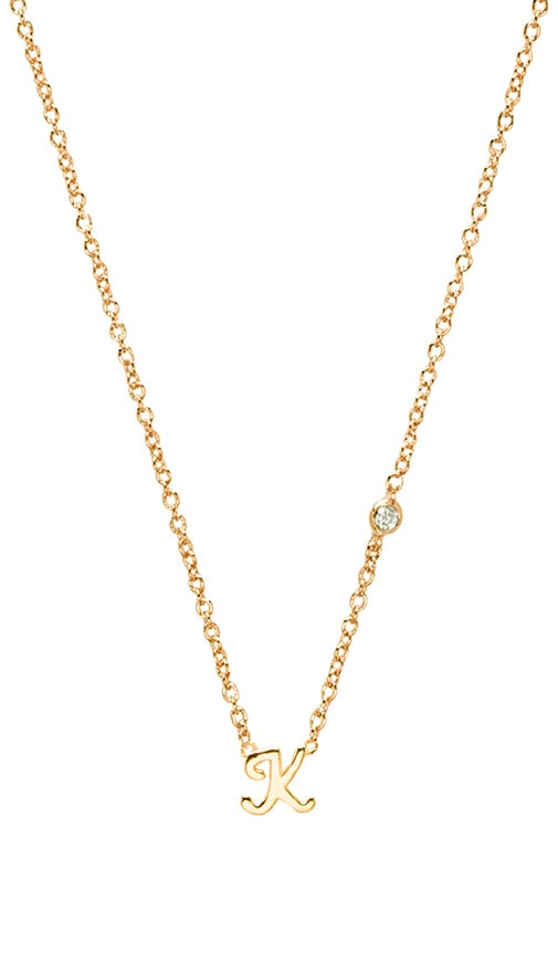 K Necklace with Diamond Bezel