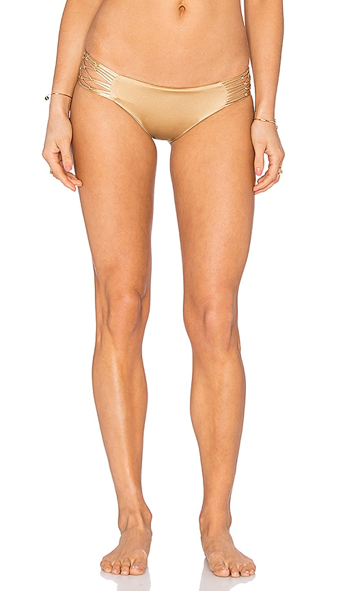 siempre golden La Jolla Bikini Bottom in Metallic Gold