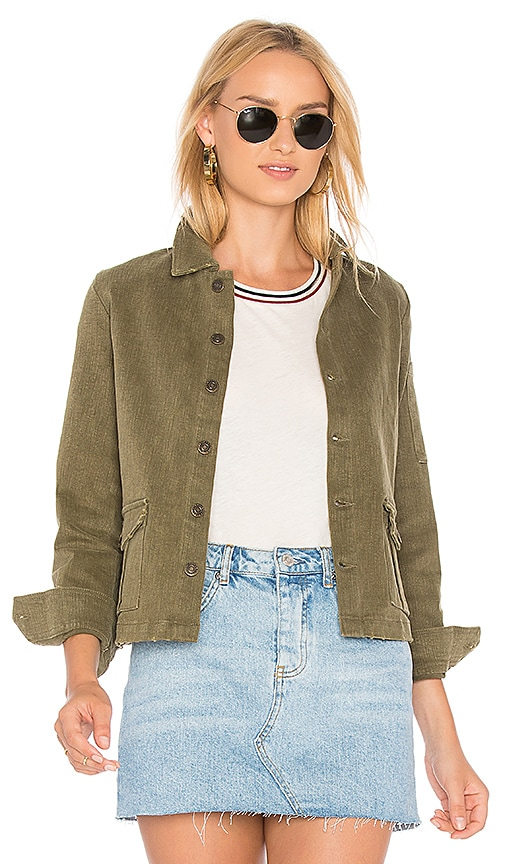Sincerely Jules Cropped Denim Jacket in Green