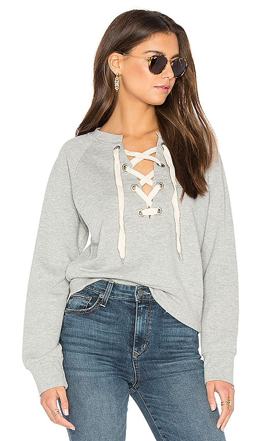 Sincerely Jules Front Lace Sweatshirt in Gray