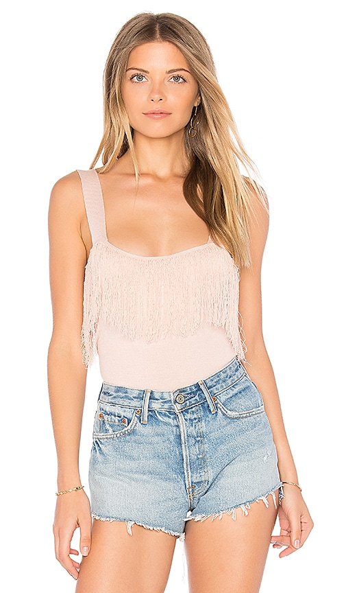Sincerely Jules Fringe Knit Tank in Pink