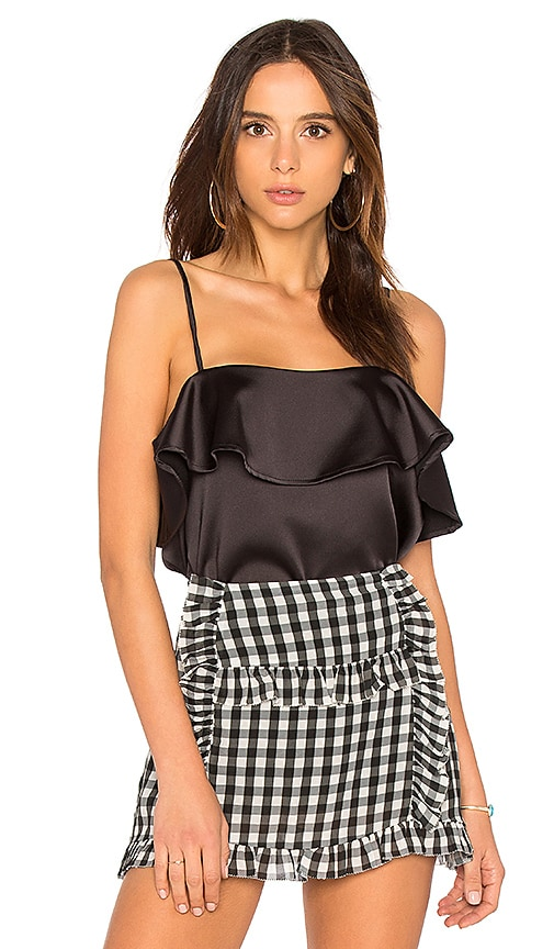 Sincerely Jules Ruffle Front Crop Cami in Black