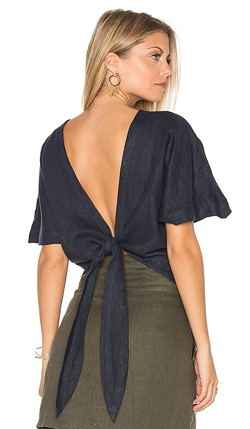 SIR the label Brooke Wrap Top in Navy