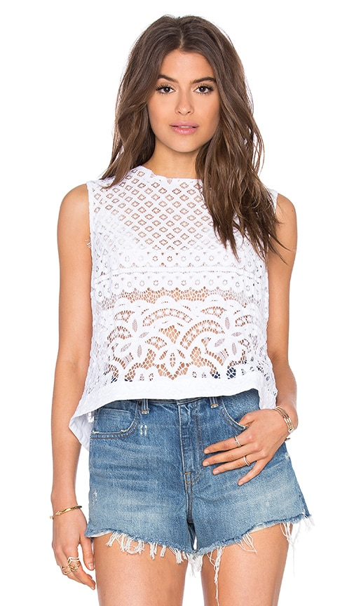Siwy Pam Snap Back Crop Tank in White