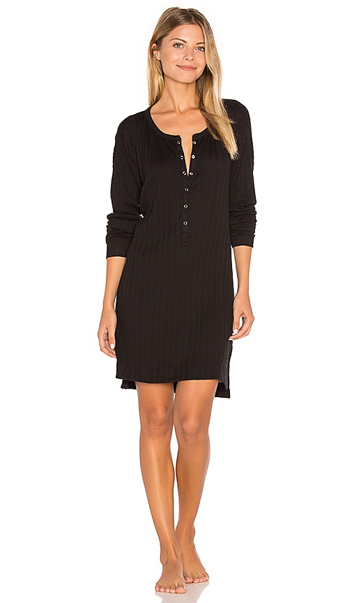 Skin Button Front Tunic in Black