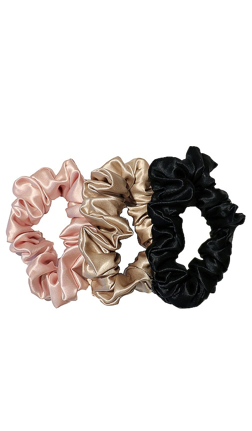 Tie New 3 Pack Slip Silk Large Black Hair Scrunchie Bow