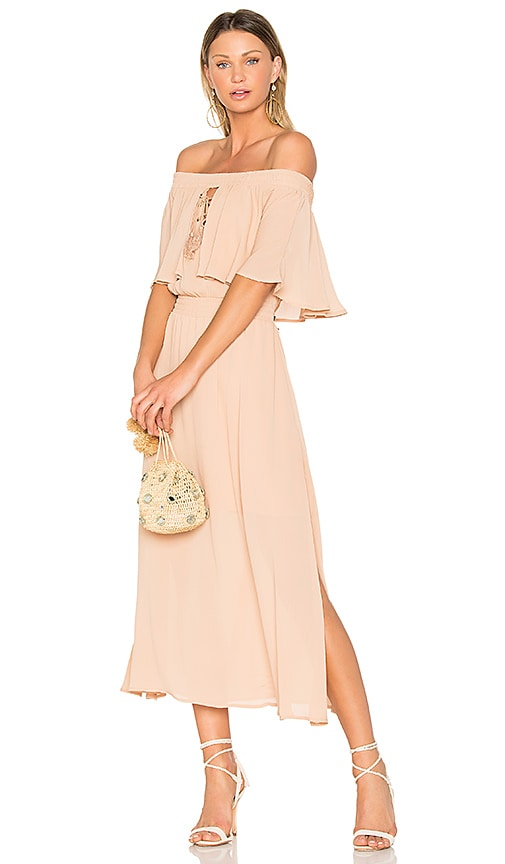 Somedays Lovin Touch the Sun Midi Dress in Tan
