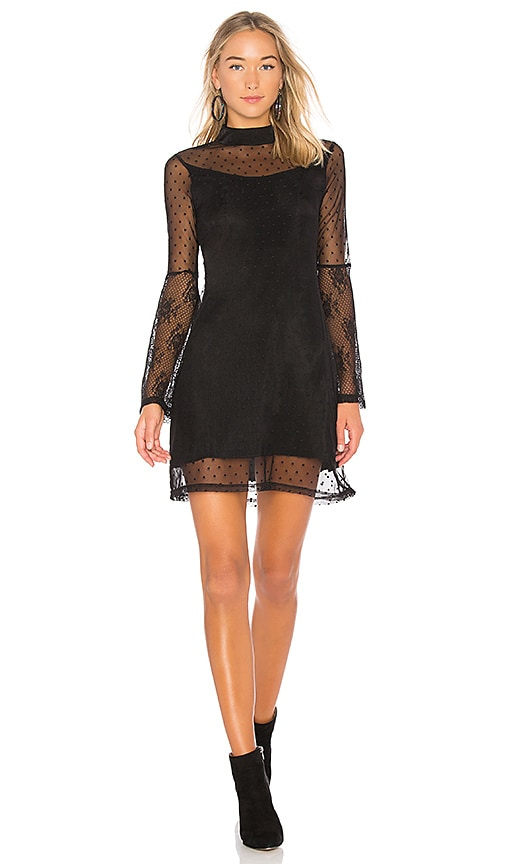 Somedays Lovin Starry Eyed Mesh Mini Dress in Black