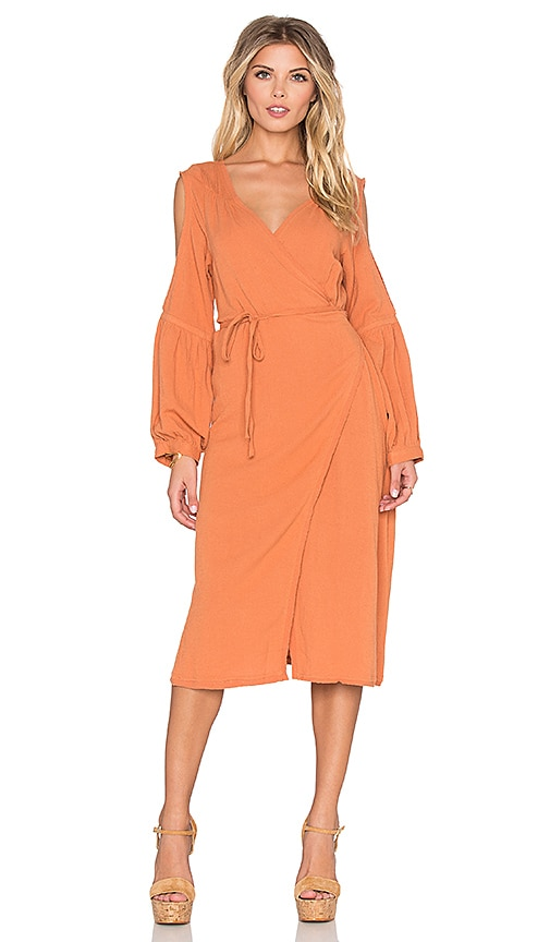 Somedays Lovin Bohemia Cold Shoulder Wrap Dress in Orange