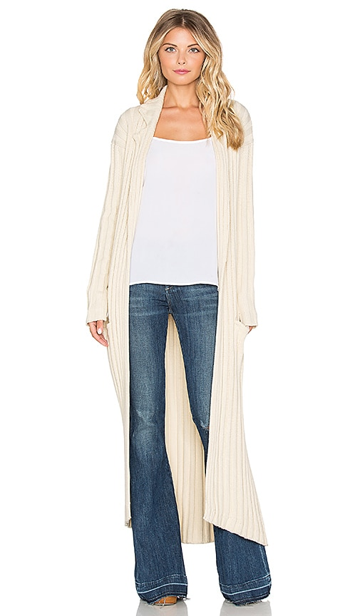 Somedays Lovin Smokey Rib Maxi Cardigan in Ecru