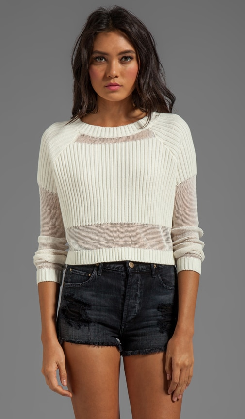 Parallels Block Knit Crop Sweater