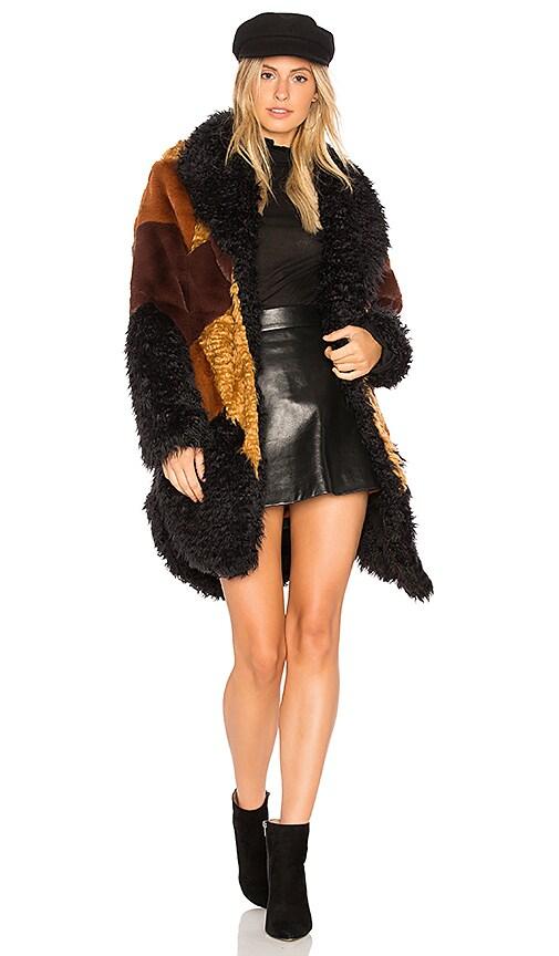 Somedays Lovin Heavy Hearts Faux Fur Jacket in Brown