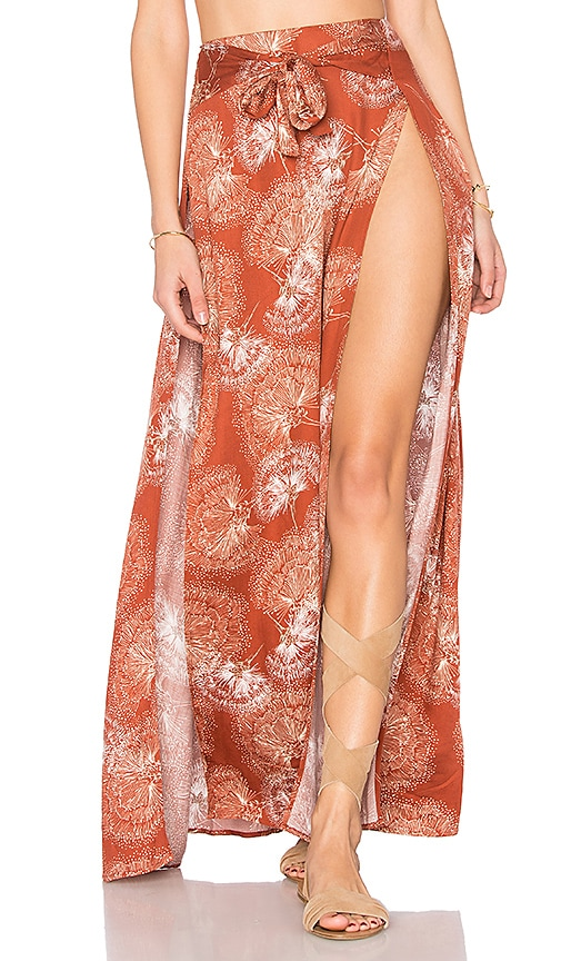 Somedays Lovin Tigress High Split Maxi Skirt in Rust
