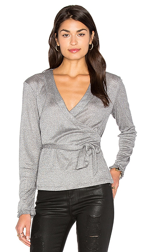 Somedays Lovin Into the Dark Wrap Top in Metallic Silver