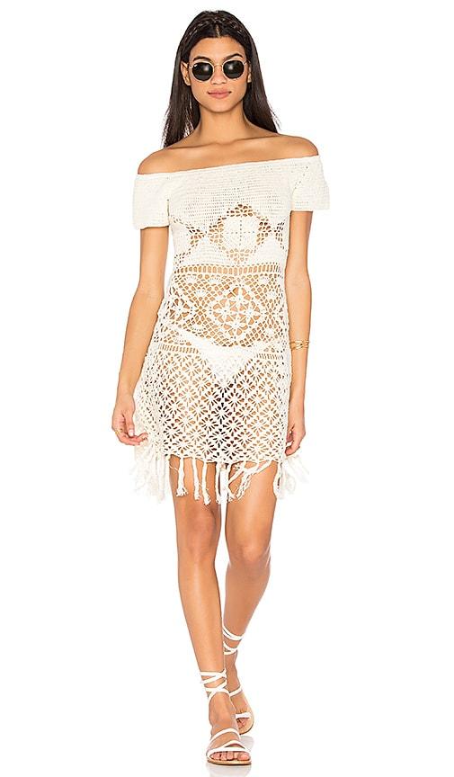 Somedays Lovin Bay Breeze Off Shoulder Crochet Dress in Cream