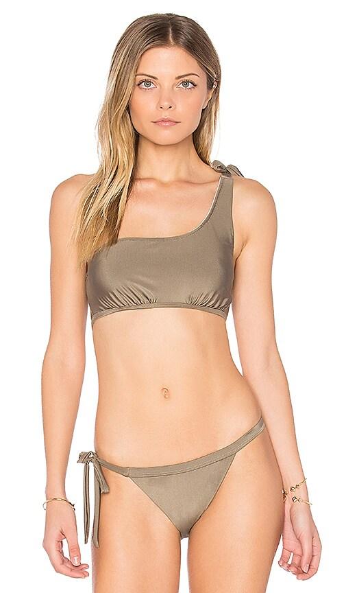 Somedays Lovin Sunspell One Shoulder Bikini Top in Taupe