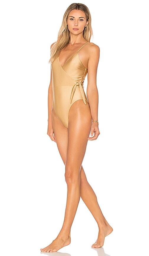 Somedays Lovin Sunspell Wrap One Piece Swimsuit in Metallic Gold