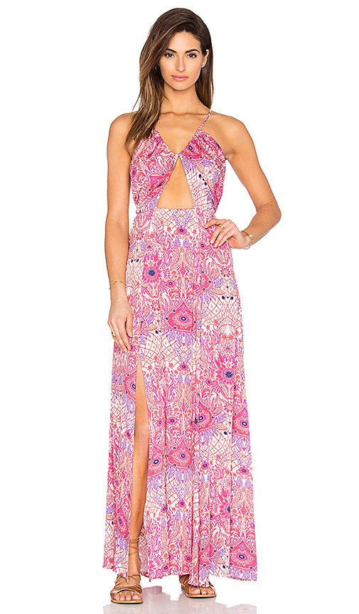 Somedays Lovin Paisley Heat Maxi Split Dress in Pink