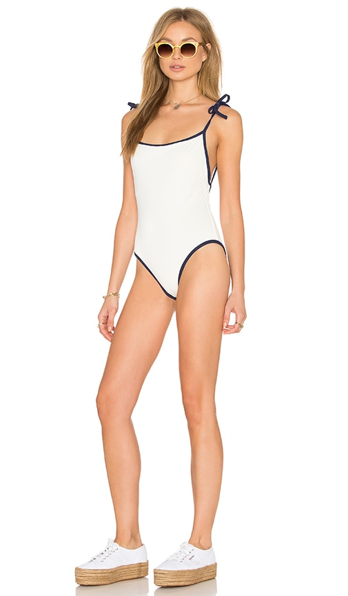 Solid   Striped The Poppy Tie One Piece in Cream   Navy  0d63d3177