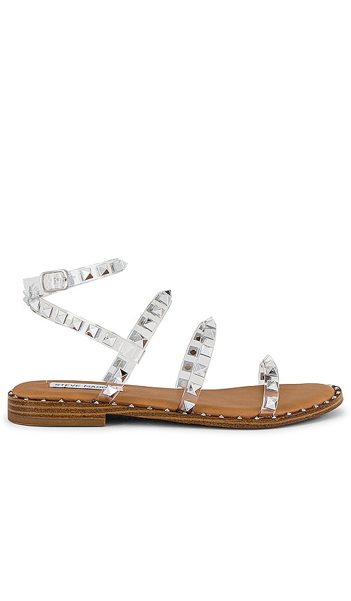 Encarnar Punto de exclamación tetraedro  Steve Madden Travel Strappy Flat Sandal With Stud Detail In Clear | ModeSens