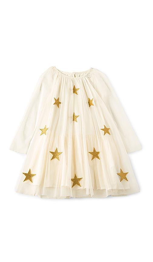 Stella McCartney Kids Misty Star Patched Dress in Ivory