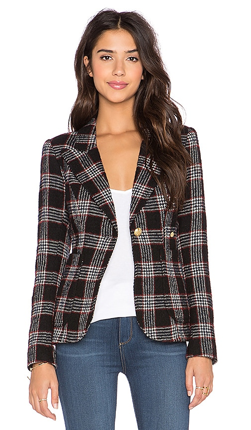 Smythe Plaid Duchess Blazer in Black Plaid & Black Leather