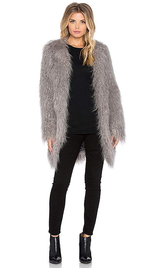 Smythe Mongolian Faux Fur Coat in Dove