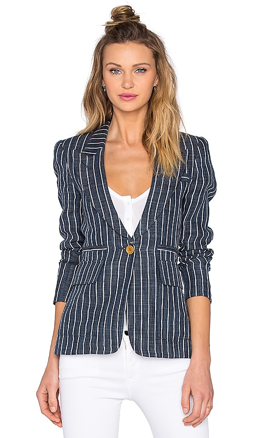 Smythe Patch Pocket Blazer in Indigo Pinstripe