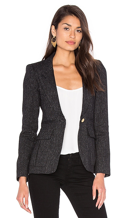Smythe Peaked Lapel Inverted Pleat Pocket Blazer in Black