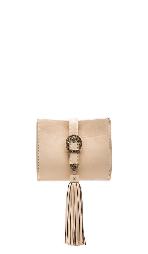Sancia x Vanessa Mooney Buckle Clutch in Sand