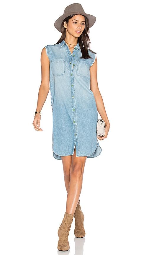 Sandrine Rose Sleeveless Button Up Dress in Blue