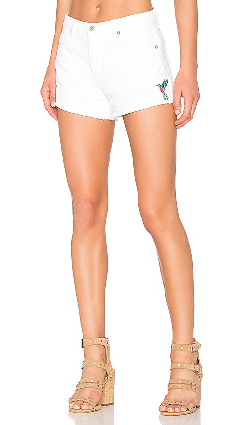 Sandrine Rose Embroidered Short in White