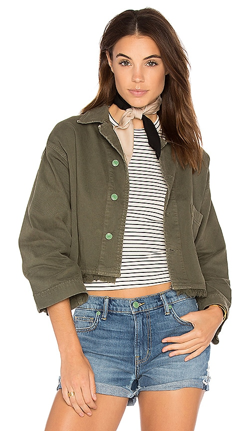 Sandrine Rose Embroidered Denim Jacket in Army