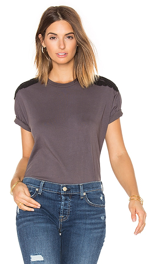 Sandrine Rose Crew Neck Tee in Charcoal